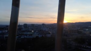 Vue de la grande roue de Vienne, soleil couchant