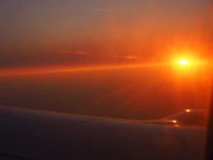 Coucher de soleil vu de l'avion